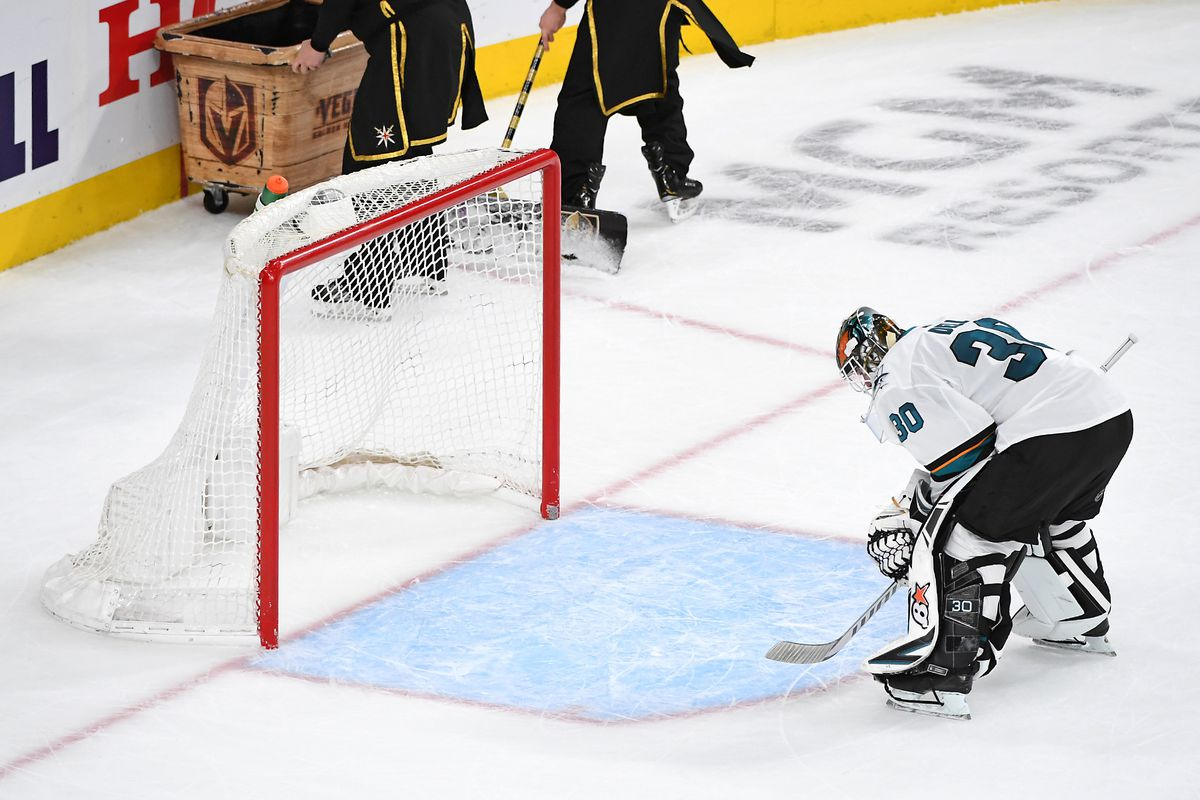Apr 16, 2019; Las Vegas, NV, USA; San Jose Sharks goaltender Aaron Dell (30) skates back to his net during a stoppage in play in the third period against the Vegas Golden Knights in game four of the first round of the 2019 Stanley Cup Playoffs at T-Mobile