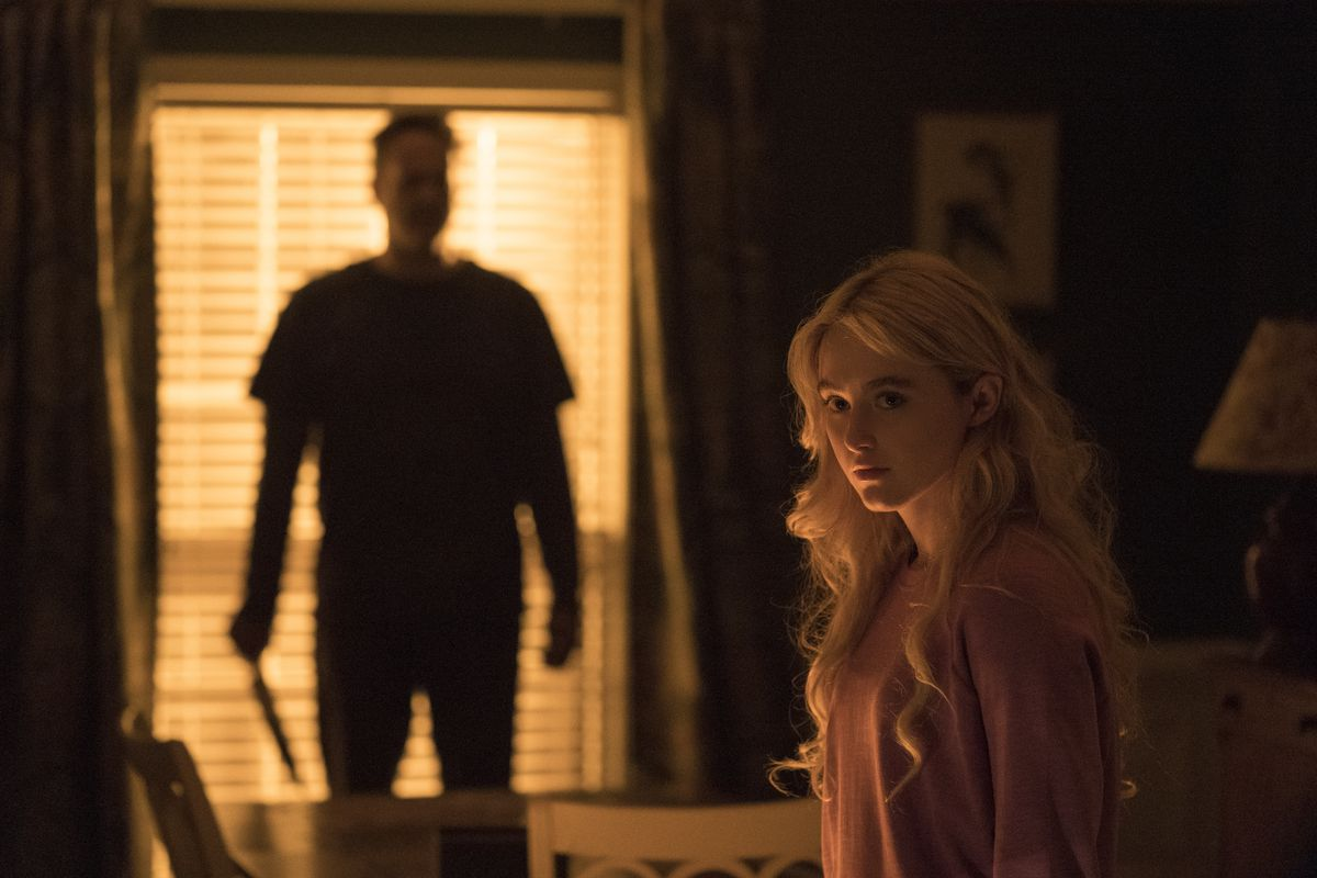 """Kathryn Newton and Vince Vaughn, left, in a scene from """"Freaky."""" (Brian Douglas/Universal Pictures via AP)"""