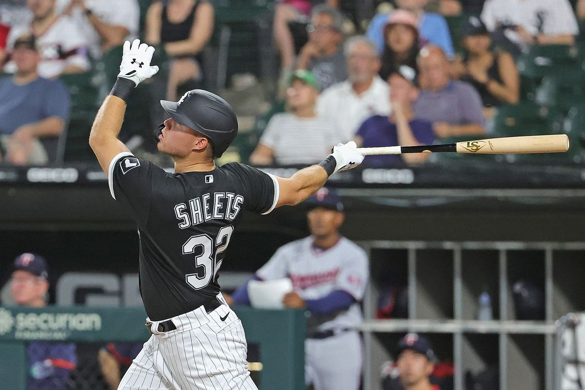 The White Sox' Gavin Sheets hits a pop fly that fell for a run scoring double in the fifth inning Tuesday.