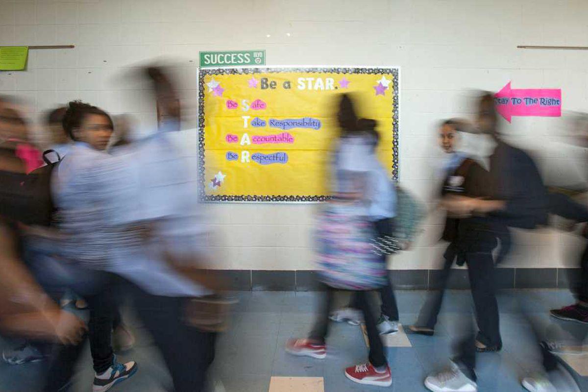 Students in hallway.