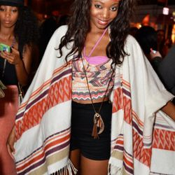 Cristal on W. Houston is wearing an H&M shawl and American Apparel shorts.