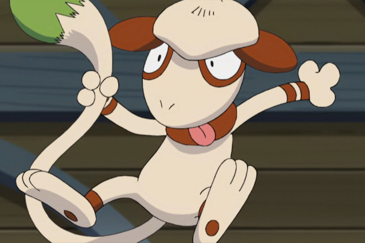 the Pokémon Smeargle, jumping into the air in a screenshot from the anime