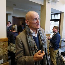 Dan Lofgren, president and CEO of Cowboy Partners, answers media questions in Salt Lake City on Thursday, Feb. 2, 2017, as Growing SLC: A Five-Year Plan 2017-2021 is launched.