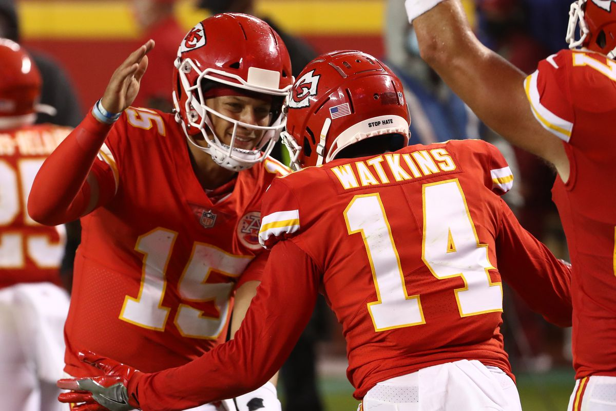 Patrick Mahomes #15 celebrates a touchdown with teammate Sammy Watkins #14 of the Kansas City Chiefs during the second quarter against the Houston Texans at Arrowhead Stadium on September 10, 2020 in Kansas City, Missouri.