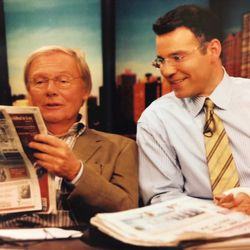 Actor Adam West joins Larry on the set at WGN.    Provided