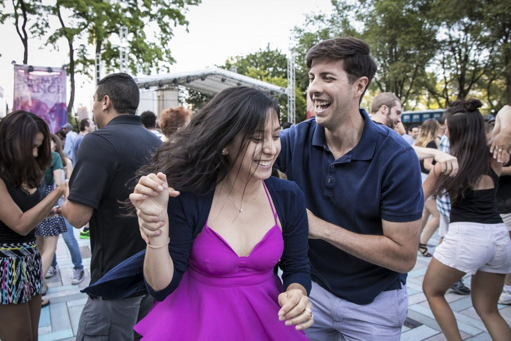 Leslie Perez and Diego Romero dance salsa as Orquesta El Macabeo performs July 8, 2017, during Chicago SummerDance at last year's Taste of Chicago. This year's SummerDance events will be at Buckingham Fountain from 6 p.m. to 9 p.m. Wednesday through Frida