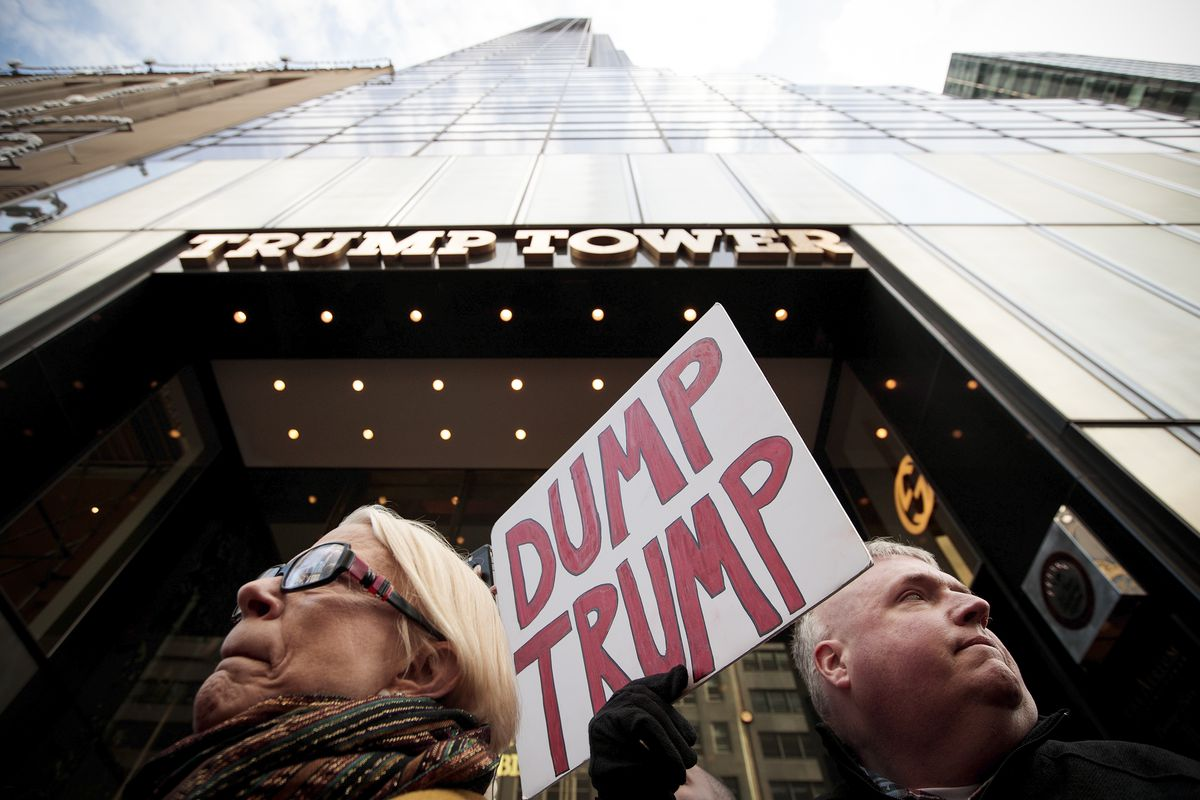 Protestors against then Republican presidential candidate Donald Trump outside of Trump Tower, in New York City, on October 26, 2016.