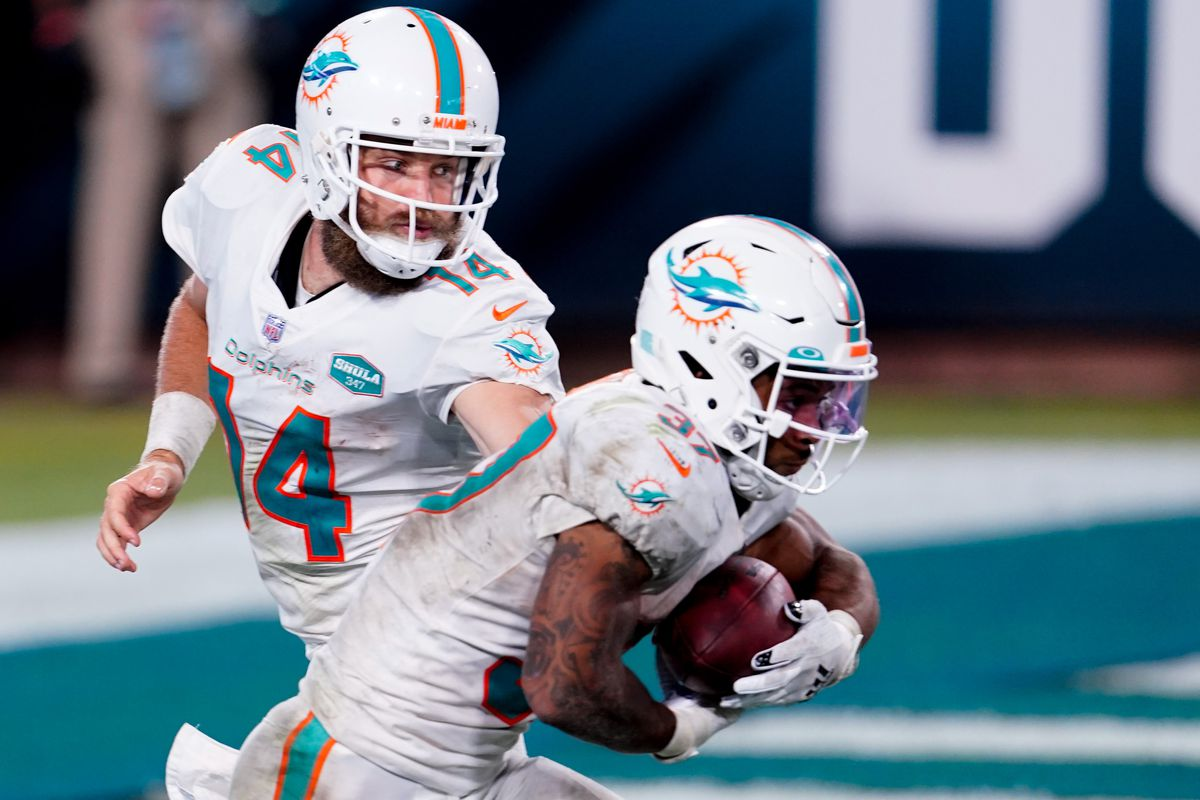 Miami Dolphins quarterback Ryan Fitzpatrick looks to hand the ball off to running back Myles Gaskin against the Jacksonville Jaguars during the second half at TIAA Bank Field.