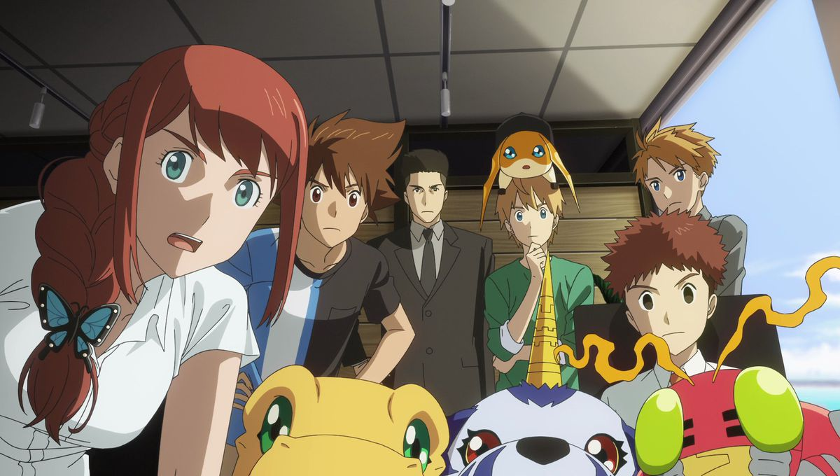 Digimon's characters, people and Digimon together, all gathered around to watch the camera