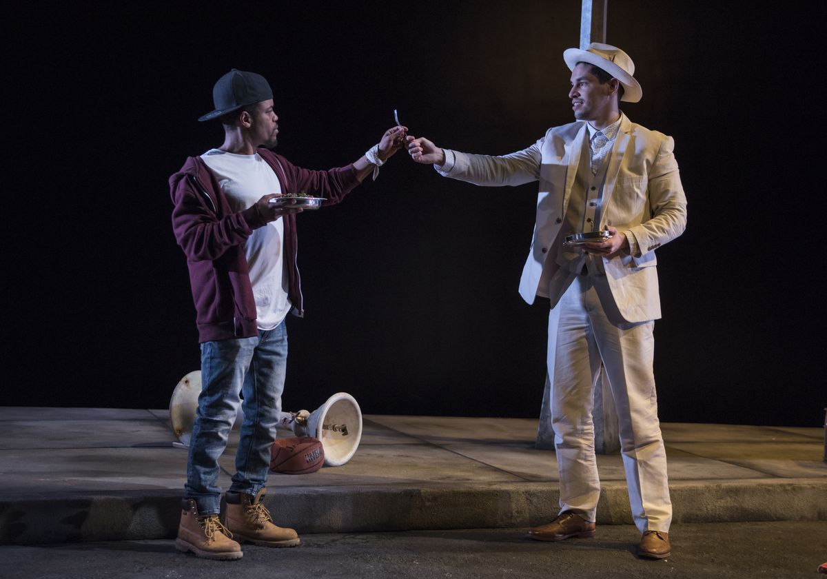 """Jon Michael Hill plays Moses and Ryan Hallahan plays Mister in Antoinette Nwandu's """"Pass Over,"""" at Steppenwolf Theatre.   Michael Brosilow"""