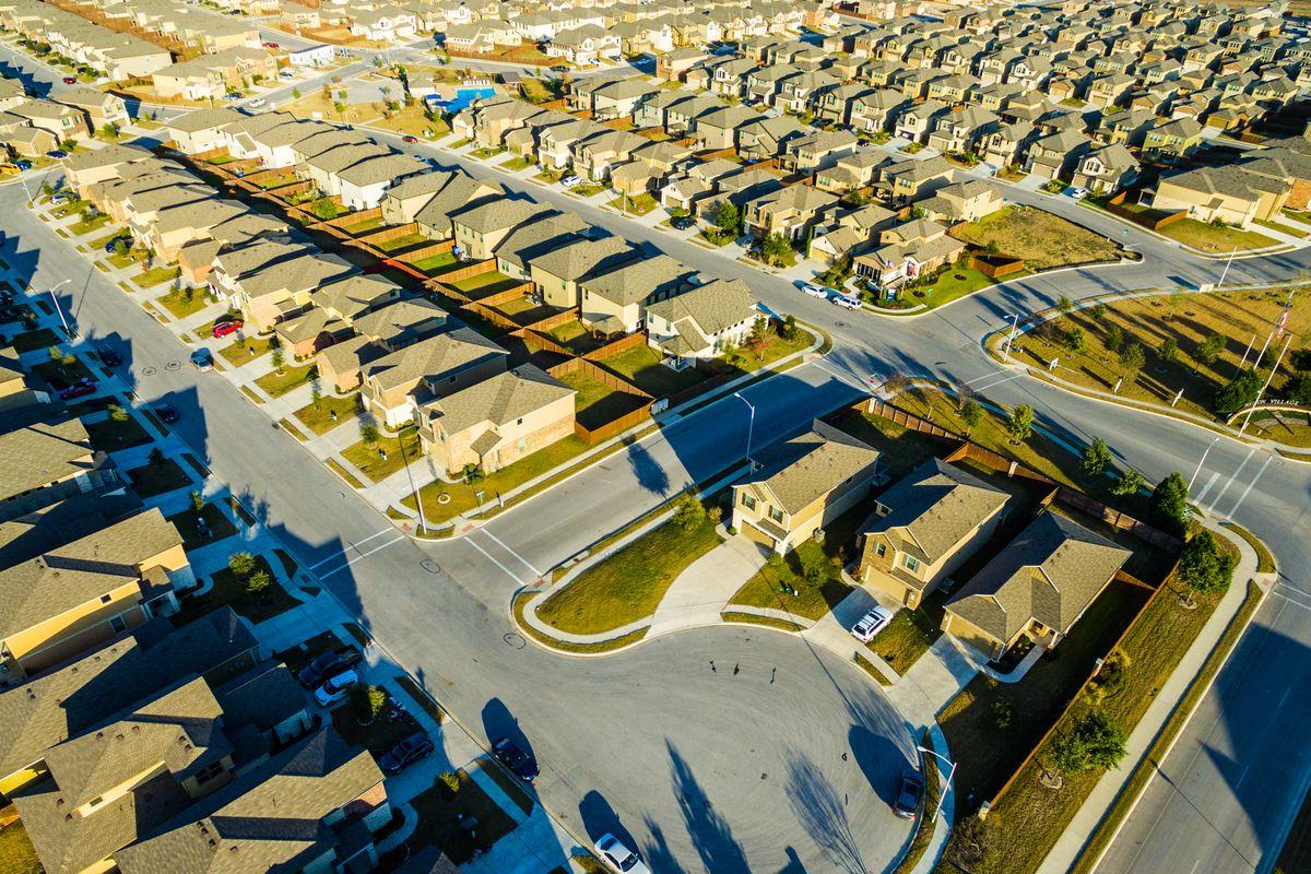 Overhead photo of suburban tract homes