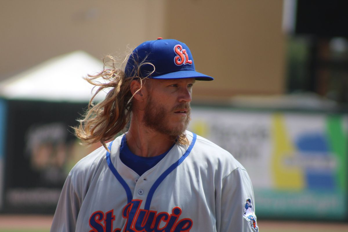Noah Syndergaard on the mound at a St. Lucie Mets game on May 19, 2021.