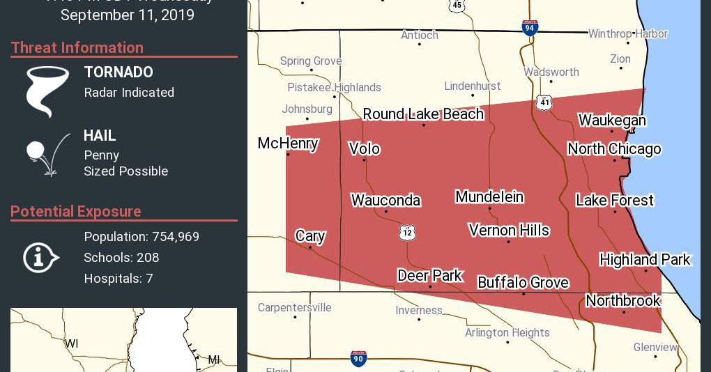 Tornado warning issued for north suburbs