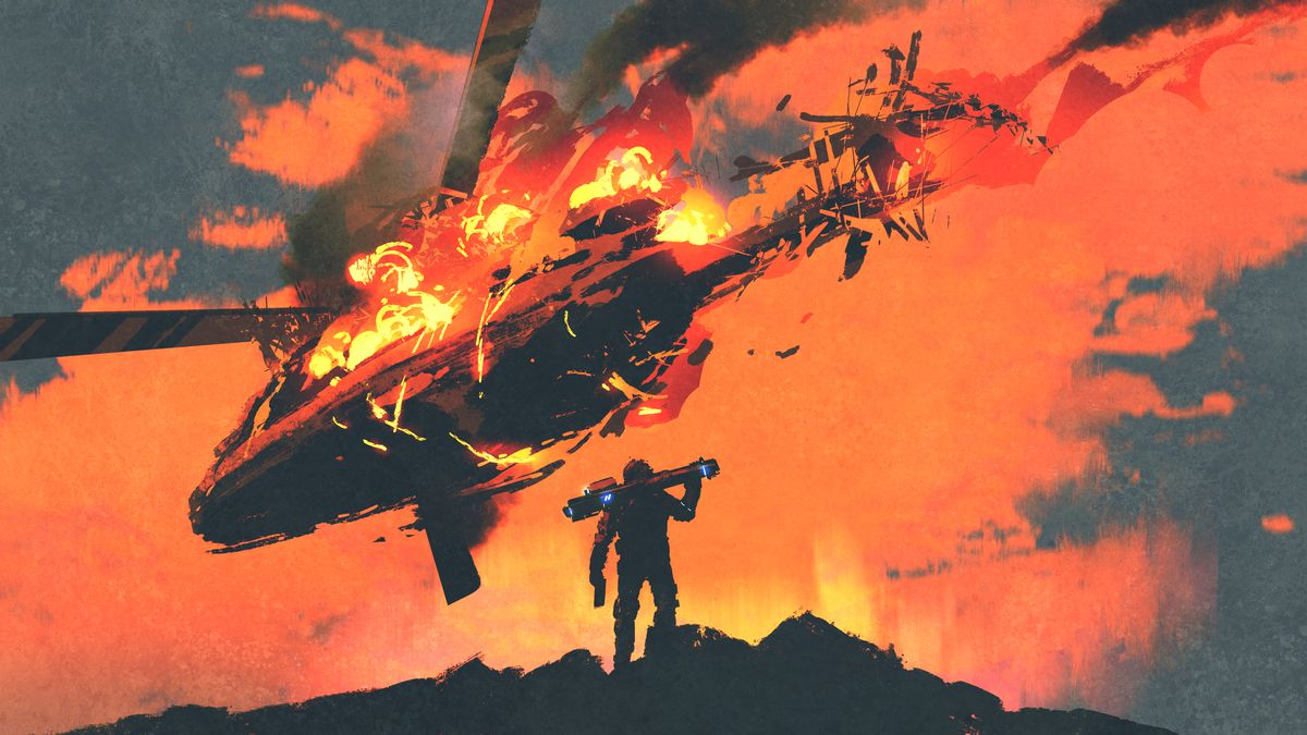 An illustration of a helicopter burning with a man carrying a rocket launcher in the foreground.