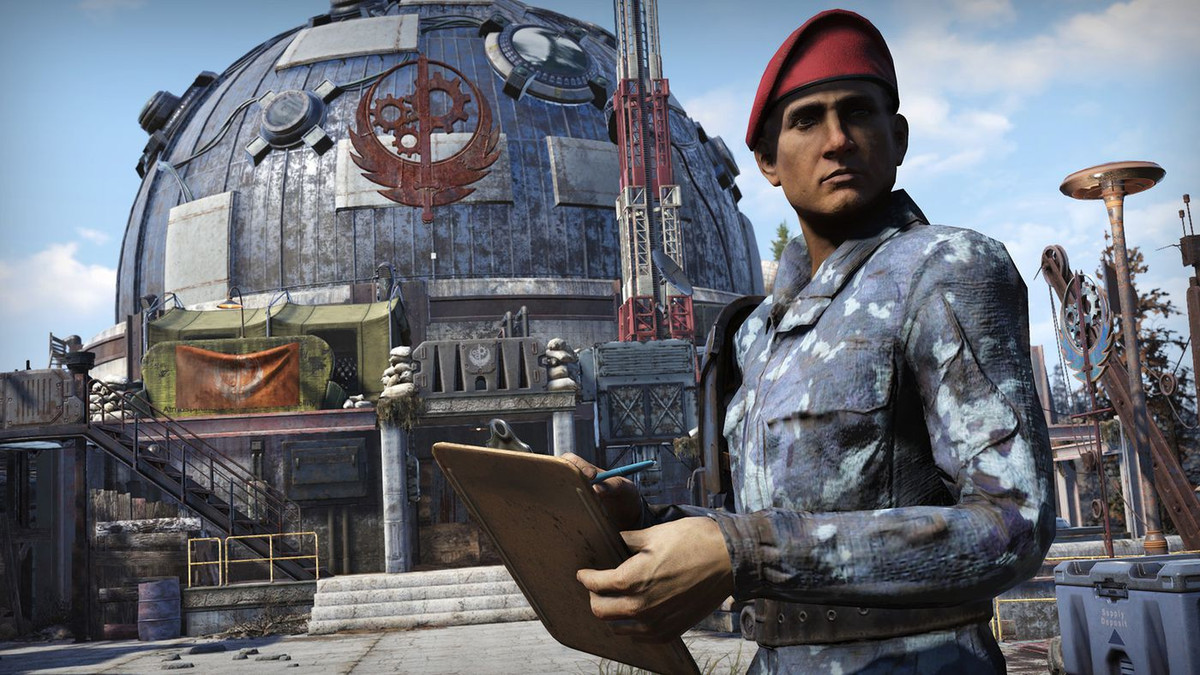 Fallout 76 - a Brotherhood purveyor stands outside Fort Atlas