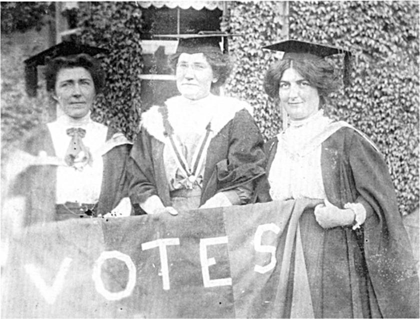 Irish activist Hanna Sheehy Skeffington (left) with fellow suffragettes. | Courtesy of Micheline Sheehy Skeffington