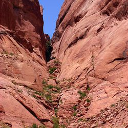 Hole-in-the-Rock is where Mormon pioneers had to cut and blast their way through rough terrain to fulfill a mission.