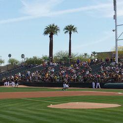 Looking toward the RF corner; Phoenix Muni's bullpens are on the field -
