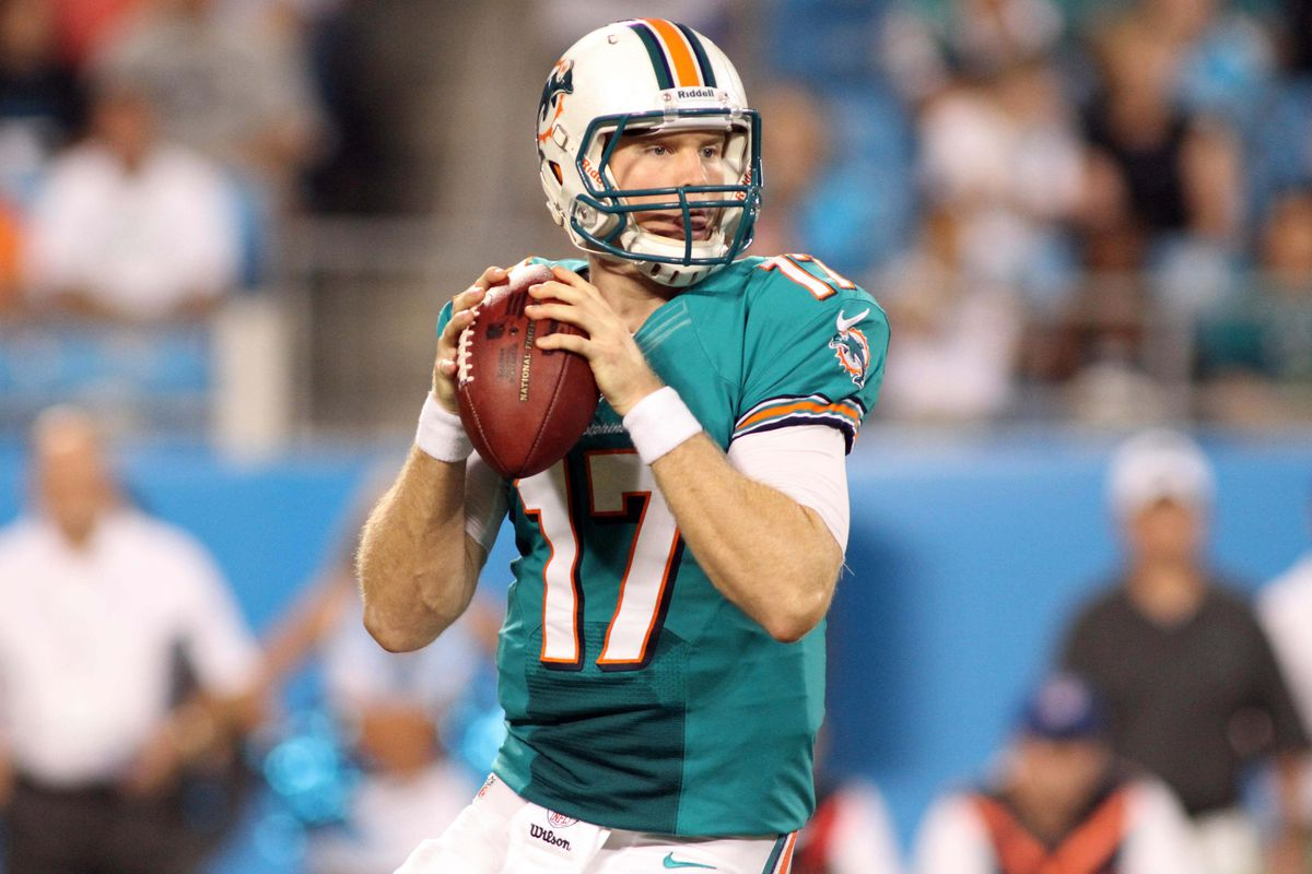 Aug 17, 2012; Charlotte, NC, USA Miami Dolphins quarterback Ryan Tannehill (17) drops back to pass during the first quarter against the Carolina Panthers at Bank of America Stadium. Mandatory Credit: Jeremy Brevard-US PRESSWIRE
