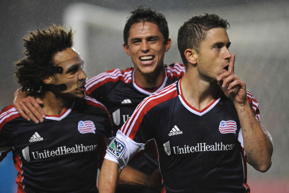 Mar 31, 2012; Carson, CA, USA; New England Revolution defenseman Chris Tierney (8) celebrates after a goal against the Los Angeles Galaxy during the first half at the Home Depot Center. Mandatory Credit: Kelvin Kuo-US PRESSWIRE