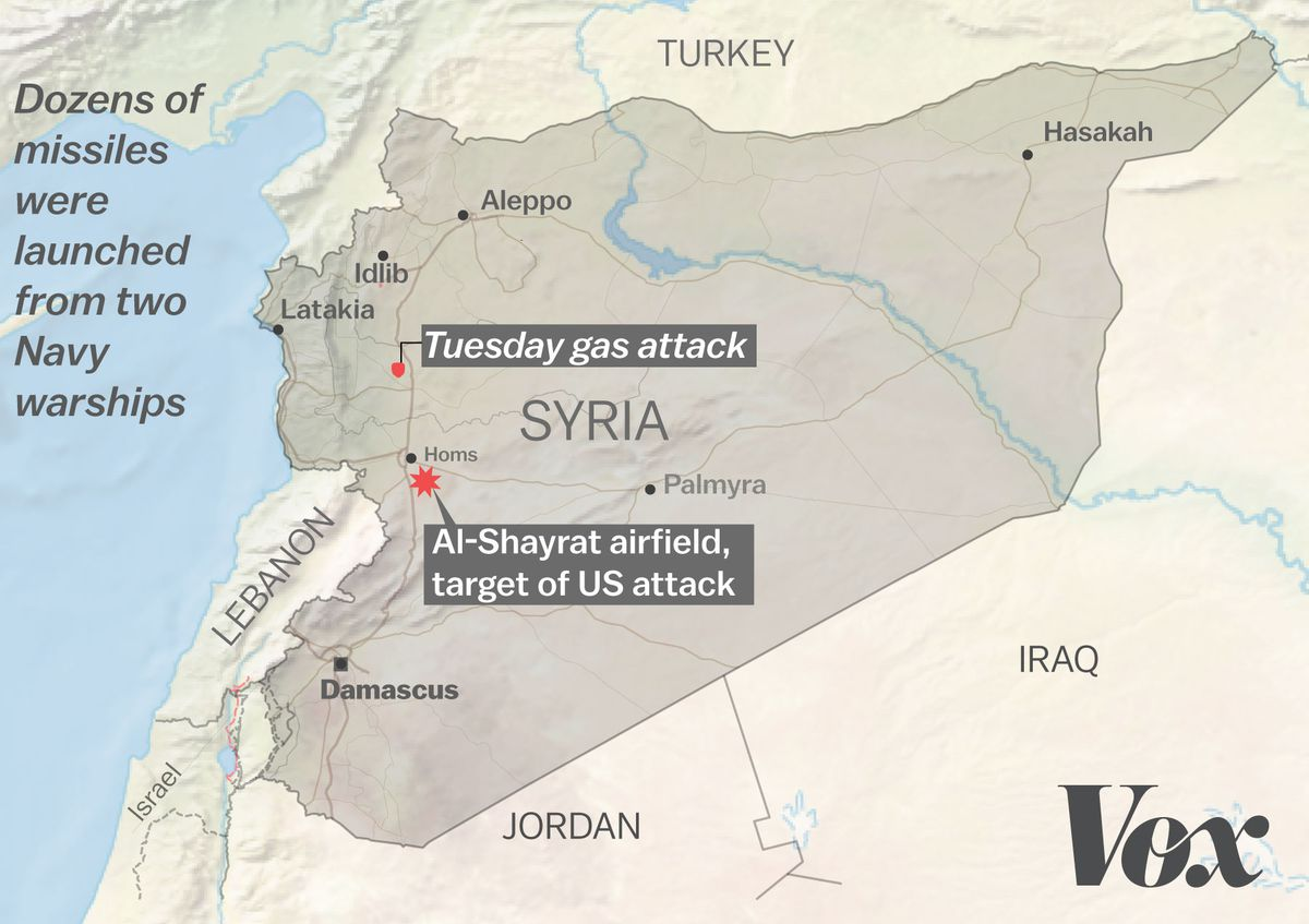 Map of the US strike against Syria