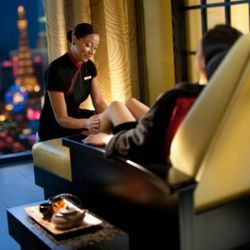 """You've spent a lot of time walking, so book an appointment in the <strong>Chinese Foot Spa</strong> within the <strong><a href=""""http://www.mandarinoriental.com/lasvegas/luxury-spa/"""">Mandarin Oriental Spa</a></strong> (3952 Las Vega Blvd. S.; 702-590 8888)"""