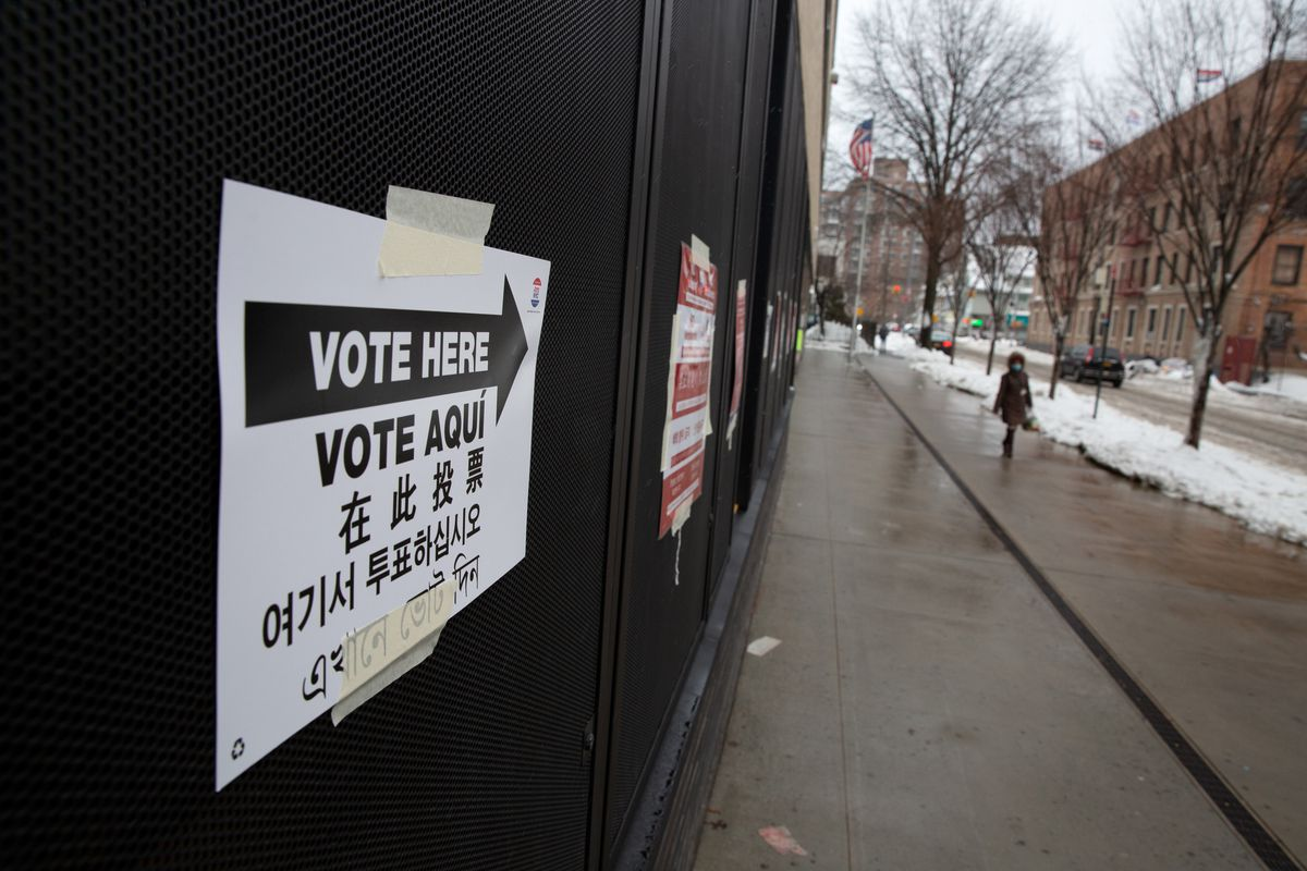 People voted at the P.S. 182 in Jamaica during the Queens City Council District 24 special election on Tuesday, Feb. 2, 2021.