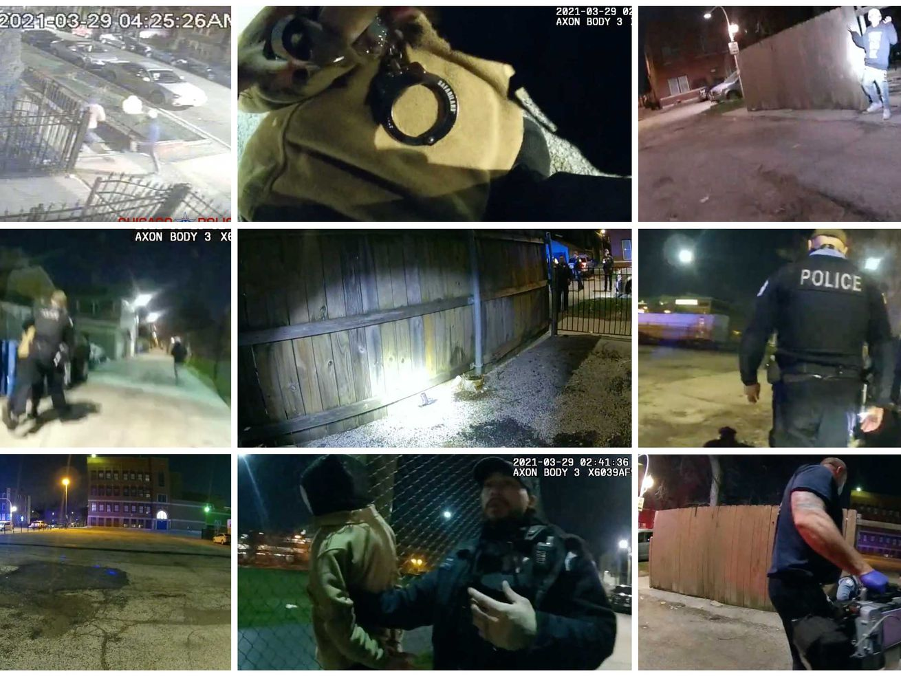 A composite of photos from various bodycams released by the Civilian Office of Police Accountability.