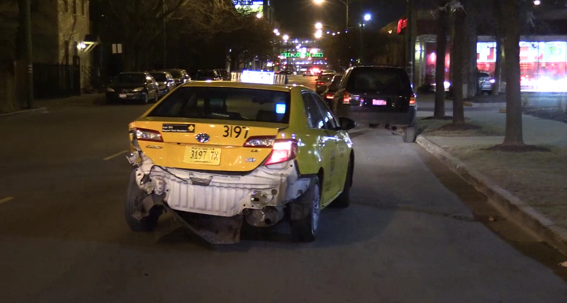 A cab was damaged after a stolen carcrashed into the bumper and then a sign Thursday night in Lincoln Park. | NVP News