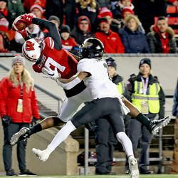 Quintez Cephus hauls in a TD catch vs Purdue. Cephus led the team in receptions and now has 74 receptions for 1201 yards and 11 TDS for his UW career.