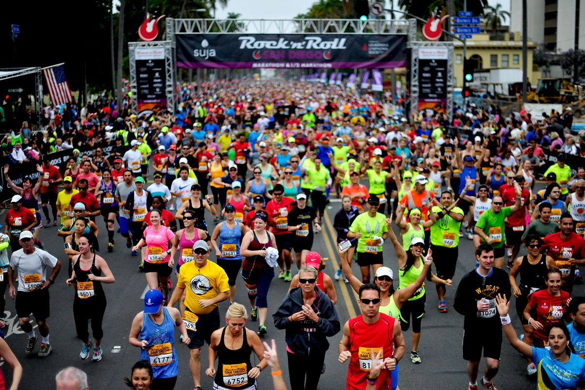 This is not Seattle. But the start line in the shadow of the Space Needle looked a lot like this!