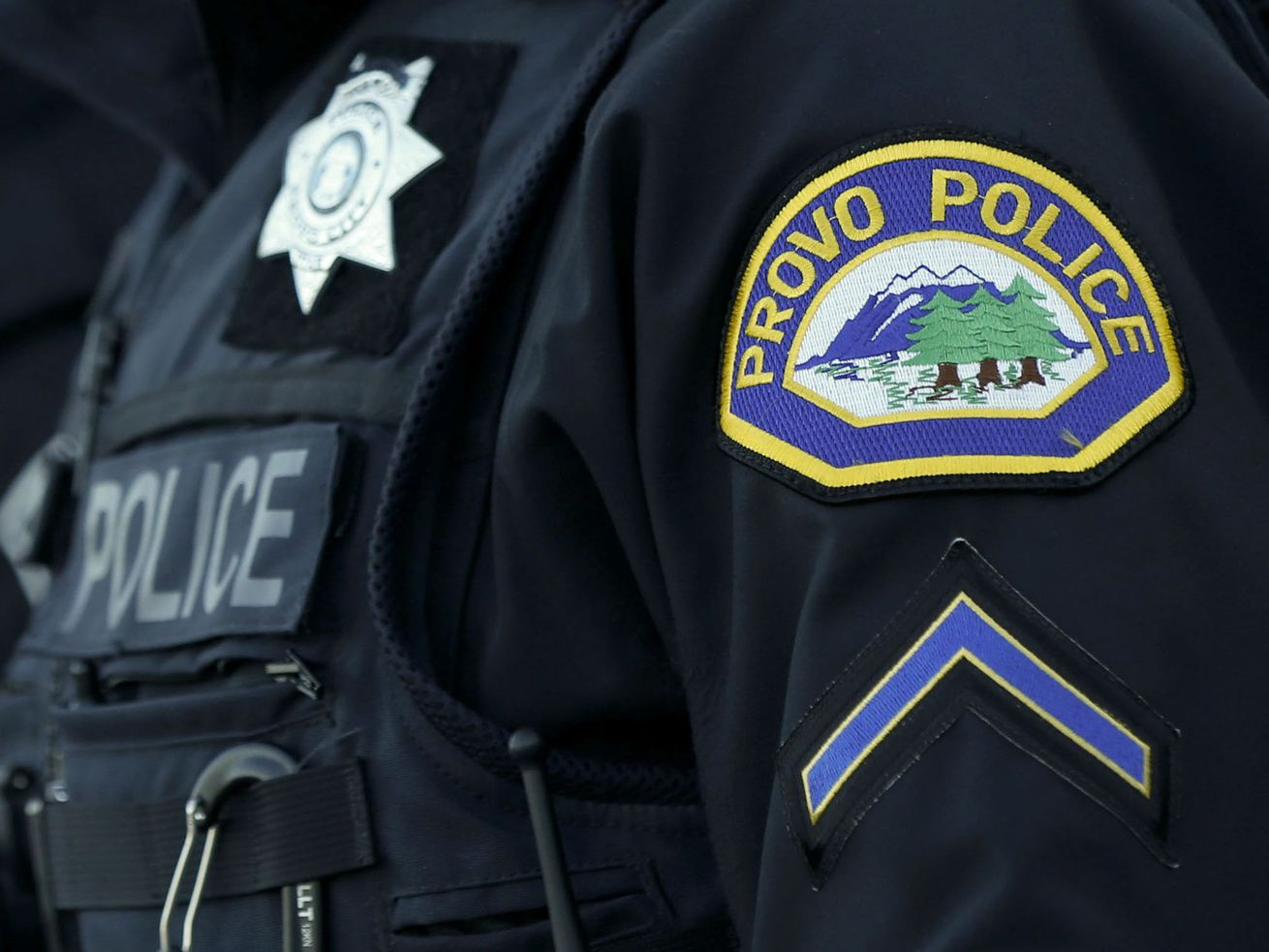 A Provo police officer is pictured on Thursday, Oct. 29, 2020.