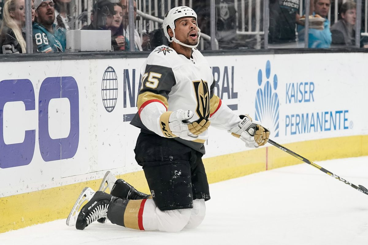 1f8a4d8540a Apr 23, 2019; San Jose, CA, USA; Vegas Golden Knights right wing Ryan  Reaves (75) reacts against the San Jose Sharks during the second period in  game seven ...