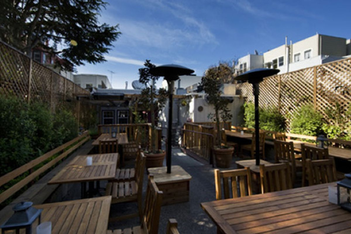 The outdoor patio at the Tipsy Pig.