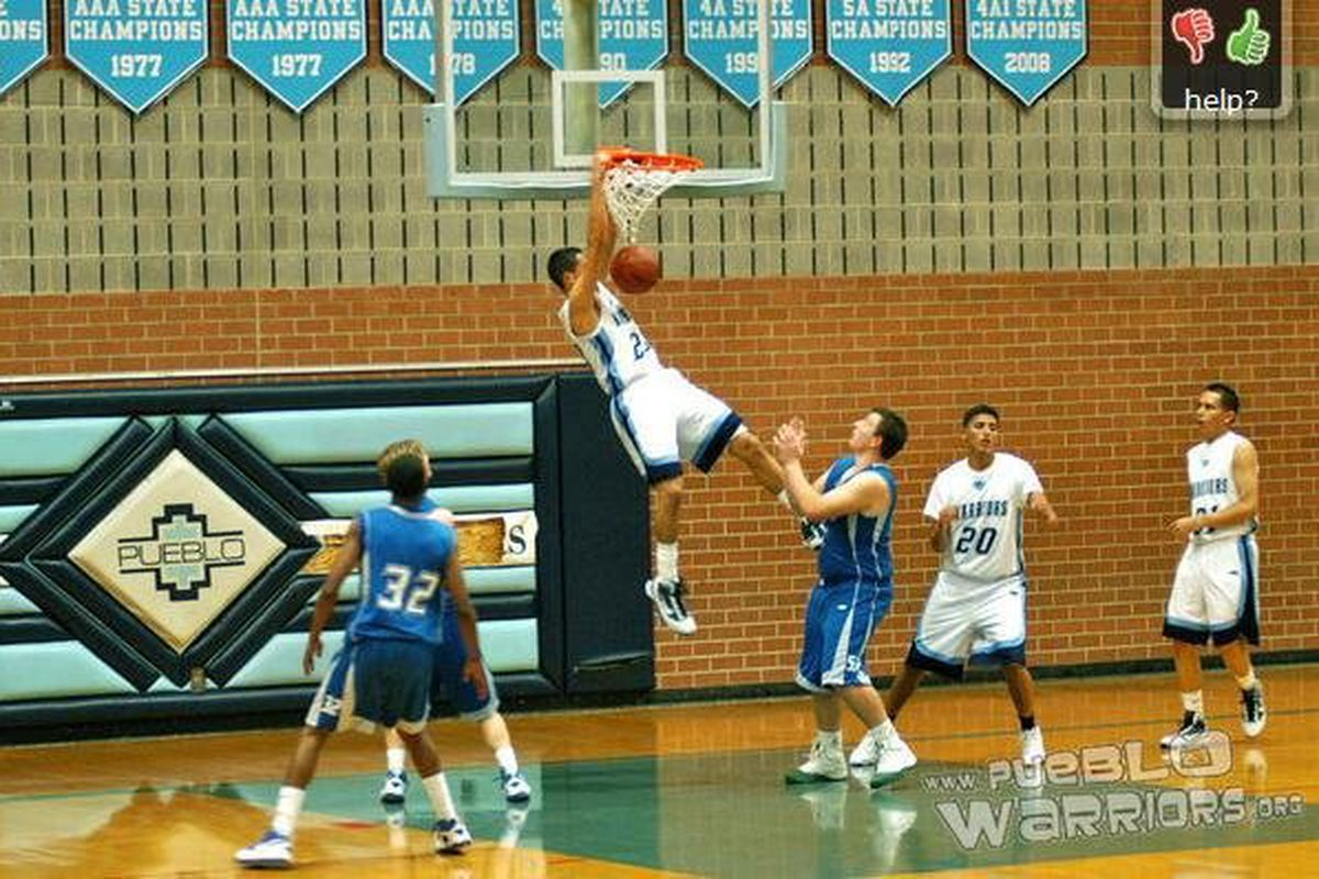 """UTEP's newest basktball player, Michael Perez, can definitely finish near the basket.  <em>Photo courtesy of <a href=""""http://www.pueblowarriors.org"""">www.pueblowarriors.org</a></em>"""