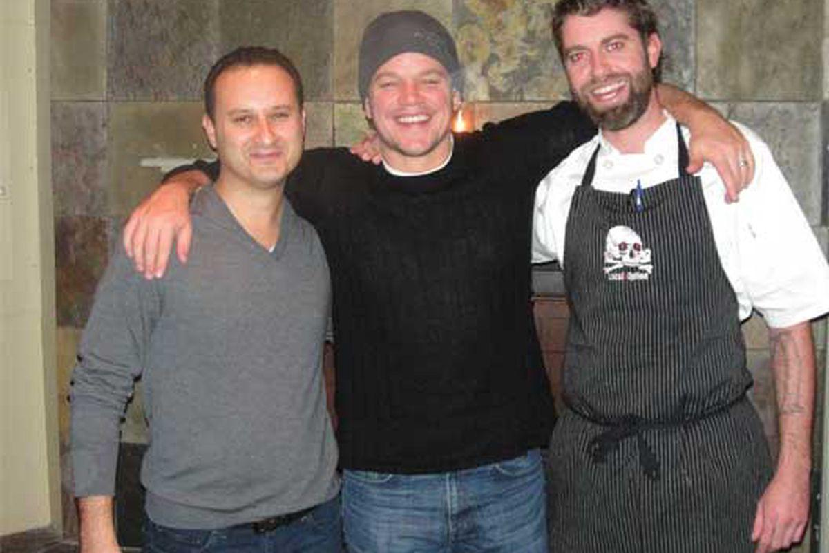 K&K owner Moe Table, Matt Damon, chef Andrew Brochu