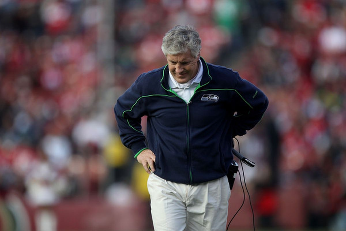 SAN FRANCISCO - DECEMBER 12:    Pete Carroll of the Seattle Seahawks looks on against the San Francisco 49ers during an NFL game at Candlestick Park on December 12 2010 in San Francisco California.  (Photo by Jed Jacobsohn/Getty Images)