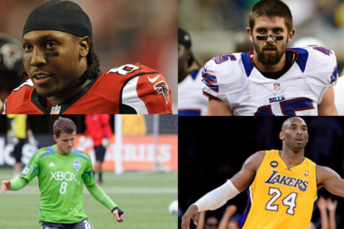Clockwise from top left: Roddy White, Tank Carder, Kobe Bryant, Marc Burch
