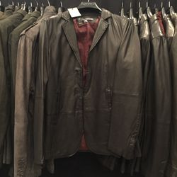 Collection leather jacket, size 48, $399 (from $2,198)