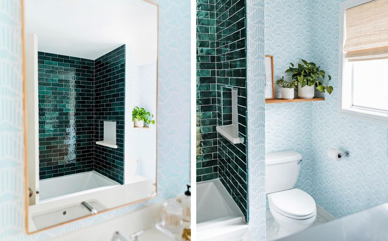 Spring 2021, Before & After Bath: Same Space, Fresh Look, tub/shower, mirror, dispay shelf, wallpaper