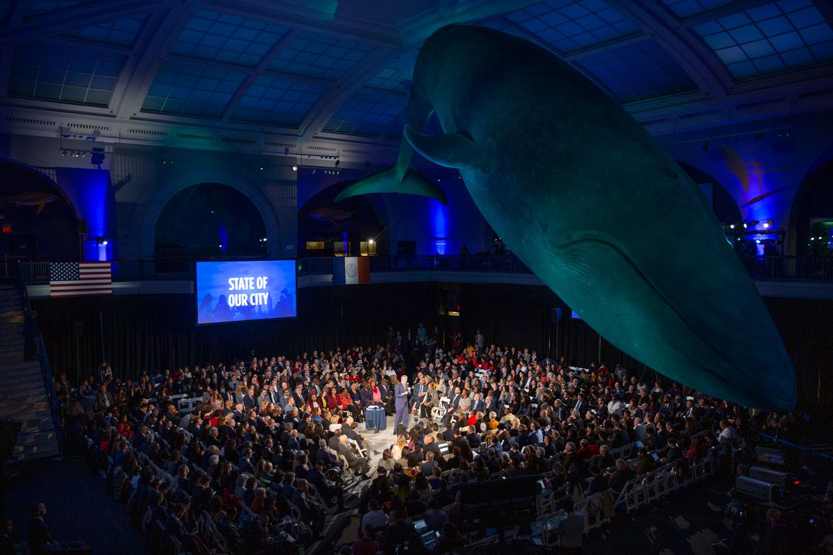 Mayor Bill de Blasio holds his State of the City address at the Museum of Natural History, Feb. 6, 2020.