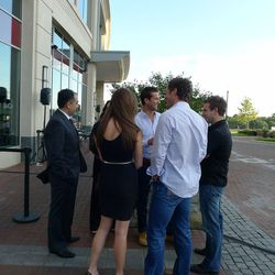 Fans of the show approach the three contestants outside of Sugo Ciccheti.