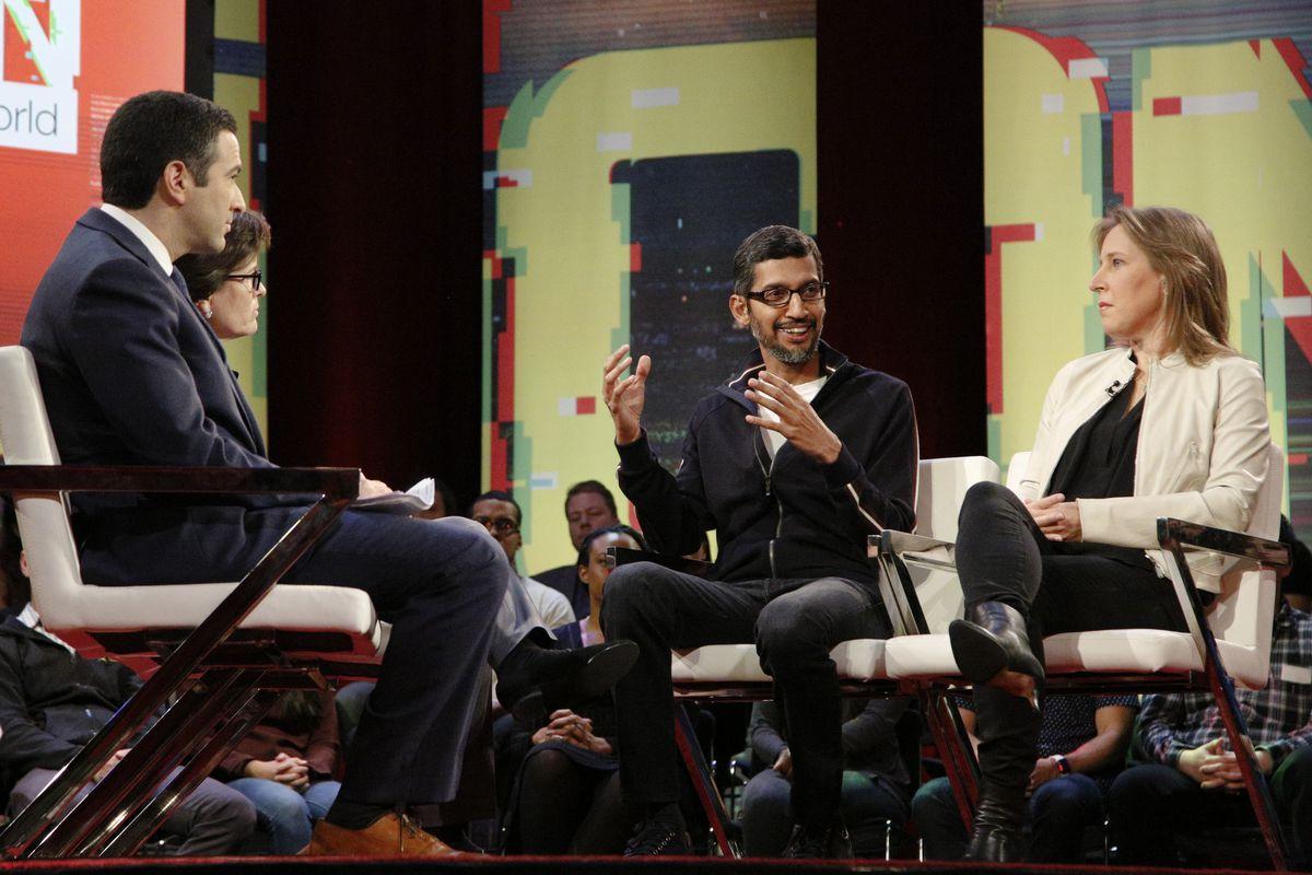 Google CEO Sundar Pichai and YouTube CEO Susan Wojcicki onstage with Recode's Kara Swisher and MSNBC host Ari Melber.