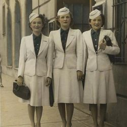 """A classic 40s update to the uniform. Photo via <a href-""""https://www.facebook.com/media/set/?set=a.10151377657361078.1073741832.7003656077&type=3"""">American Airlines Facebook.</a>"""