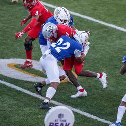 SJS Spartan safety Tre Jenkins (22) on the tackle