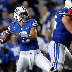 Brigham Young Cougars quarterback Jaren Hall (3) delivers a pass as BYU and Utah play an NCAA football game at LaVell Edwards Stadium in Provo on Saturday, Sept. 11, 2021.