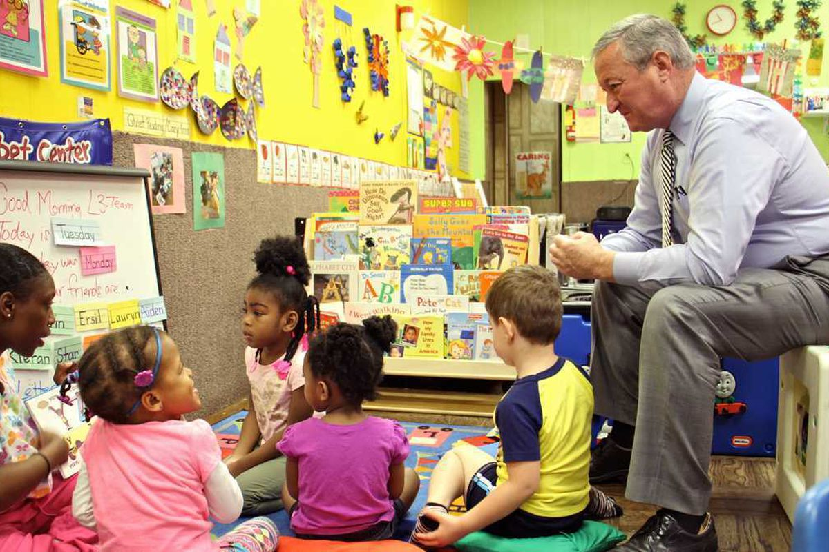 Philadelphia Mayor Jim Kenney with students of the littler learners literacy academy.