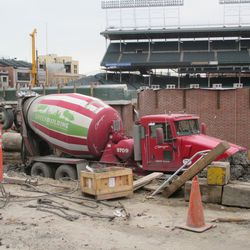 Concrete being poured in left field