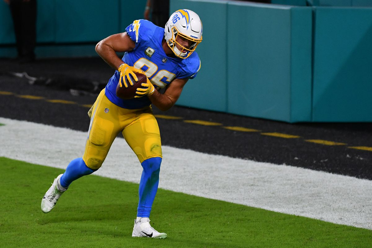 Los Angeles Chargers tight end Hunter Henry (86) makes a catch for a touchdown against the Miami Dolphins during the second half at Hard Rock Stadium.