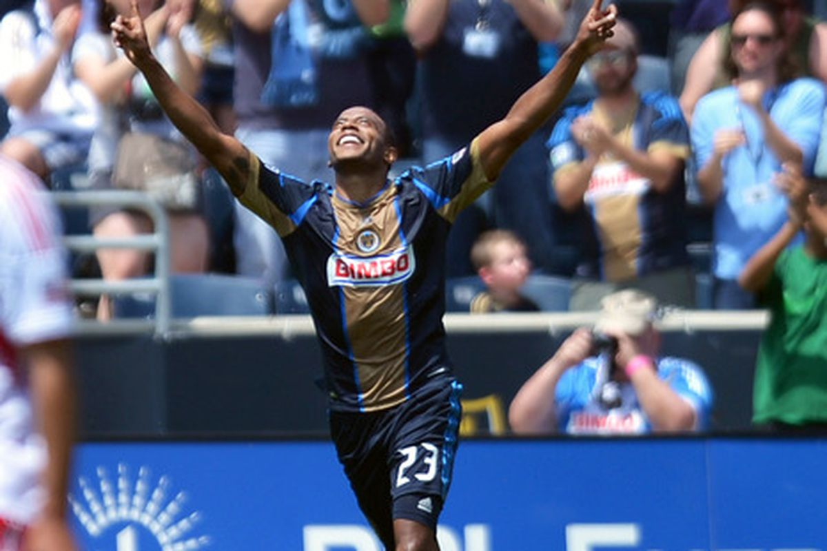 CHESTER, PA- MARCH 13: Lionard Pajoy #23 of the Philadelphia Union celebrates a first half goal during the game against the Philadelphia Union at PPL Park on May 13, 2012 in Chester, Pennsylvania. (Photo by Drew Hallowell/Getty Images)